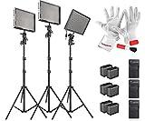 Aputure Amaran AL-528 (AL-528S + AL-528W*2) CRI 95+ Led Videoleuchte Kameralicht Set mit Akku Licht-Standplatz, Sony NP-F960 Batteriepack mit Ladegerät , Pergear Reinigung Set