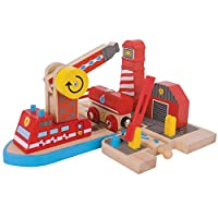 Bigjigs Rail Fire Sea Rescue Accessory Set - Other Major Wood Rail Brands are Compatible