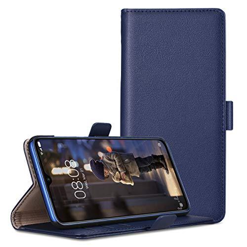 RuiPower para Funda Xiaomi Mi 9 SE Carcasa Libro con Tapa Flip Folio Case de PU Cuero Silicona Soporte Plegable Ranuras Tarjetas y Billetera Magnético Ultra-Delgado Cover - Azul