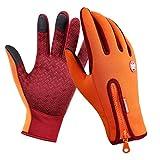 Zhouba - Gants de cyclisme antidérapants, protégeant du vent et compatibles avec des écrans tactiles pour le vélo, la moto et sports en plein air en hiver., Orange, grand