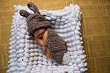 Jastore ® Foto Fotografie Prop Baby Kostüm schön Grau Kaninchen Kaninchen häkel Stricken Handarbeit