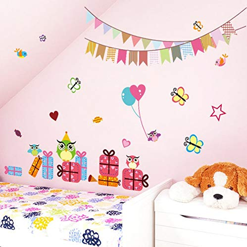 dren Birthday Party Butterfly Owl Bird Decoration Wall Stickers Kids Rooms Decals Balloon Butterfly Nursery Room ()