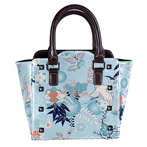 Nananma Schultertasche mit Tragegriff für Damen, Leder, mit Kimono-Hintergrund mit Kran-Blumen-Druck, Umhängetasche, Umhängetasche, Hobo-Tasche, Handtasche -