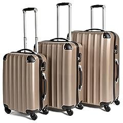 Idea Regalo - TecTake Trolley valigia valigie set rigido borsa 3 pz. - disponibile in diversi colori - (Champagne)
