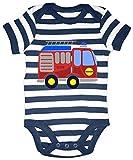 HARIZ Baby Body Streifen Feuerwehr Auto Auto Polizei Inkl. Geschenk Karte Weiß/Navy Blau 0-3 Monate