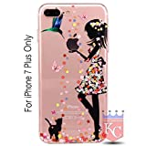 iPhone 7 Plus Case - Soft Printed Flower Angel Standing Girl & Holding Apple Logo Sparkle Stars with Diamonds Transparent iPhone 7 Plus Back Cover