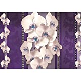Vlies Fototapete PREMIUM PLUS Wand Foto Tapete Wand Bild Vliestapete - Ornamente Orchidee Blume Blüte Herzen Streifen - no. 1979, Größe:368x254cm Blueback Papier