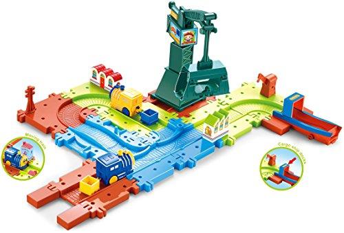 Saffire City Construction Train Set with Cargo Ship Dock and Movable Crain, Multi Color