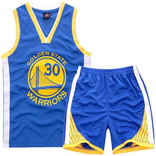 NBA Warriors Curry 30th Golden State Baloncesto Camisetas Costume Traje Basketball Jersey Niños Chicos Chicas Hombres Costume Kit Set Retro Shorts y Camiseta Uniforme Top & Shorts 1 Set (Azul, XL)