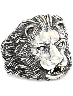windalf Mächtiger Löwen-Kopf-Ring ~ LUAN ~ h: 2.2 cm - 925 Sterlingsilber (r361)