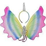 COM-FOUR® Einhorn Kostüm Set, Einhorn Zubehör Flügel und Haarreif mit Einhorn Horn zum Umhängen und Aufsetzen für Karneval, Fasching, Halloween und Motto Partys