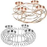 LS-LebenStil Design Adventskranz Kerzenleuchter Kerzenhalter Ohne Dorn 4 Kerzen Rund Kupfer 36cm