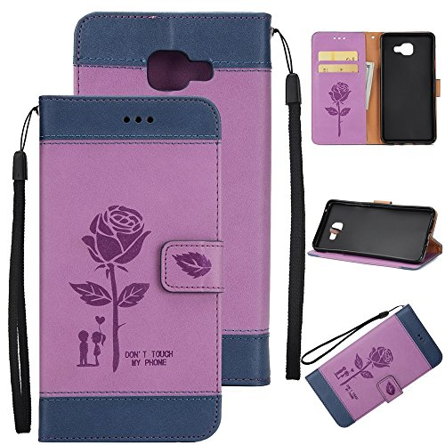 Dual Color Matching Premium PU Leder Flip Stand Case Cover mit Card Cash Slots und Lanyard für Samsung Galaxy A520 ( Color : Purple ) White