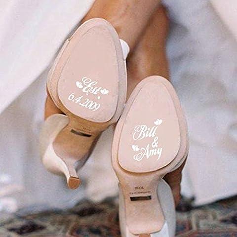 Personalisierte Hochzeit Schuh Decals High Heel Aufkleber Removable Name und Datums-Hochzeits-Schuh-Abziehbild-Aufkleber