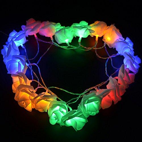 HANGQI (R) 20 LED-Lichterketten mit Rosenblüten für Party, Zuhause, Hochzeit, Garten, Weihnachten, Valentinstag (mehrfarbig)