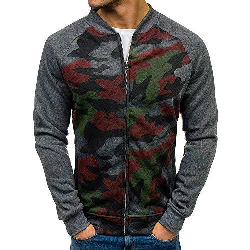 Luckycat Herren Herbst Winter Zip beiläufige Lange Hülsen-dünne Taschen-passende Jacken-Jacke Mode 2018 (Klebeband-jacke)