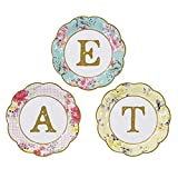 Lot de 24petites assiettes en carton Truly Scrumptious, motif EAT pour les goûters et les occasions spéciales