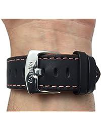 Reloj de pulsera banda de cuero, Racer, 24mm, color negro con costuras de color naranja