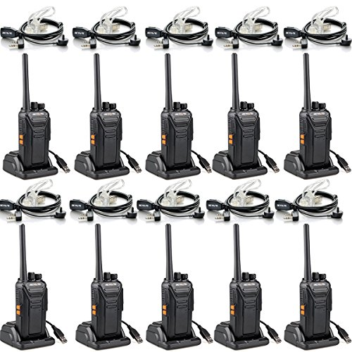 Retevis RT27 Funkgerät mit Headset Lizenzfrei PMR Funkgeräte Set Walkie Talkie mit USB Ladeschale 16 Kanäle VOX Monitor Notanruf mit Tastenkombination Walkie Talkies mit Headset (10 Stk., Schwarz) (50-kanal Walkie Talkies)