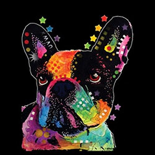 Neon T-Shirt - Bunter Hund - Französische Bulldogge - Motivshirt als Geschenk Idee mit Aufdruck für Hundefreunde Schwarz