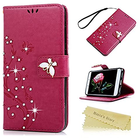Mavis's Diary P8 Lite 2017 Case ,Huawei P8 Lite Bling Flip Case 2017 Model - Glitter Gems Diamonds Crystal Butterfly Wallet PU Leather Flip Cover [Chic Flower Embossed] Silicone Back Holder Case Magnetic Closure Card Slots & Stand & Wrist Strap - Deep Pink (Not for 2015 Model)