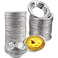 50pcs Chytaii Moldes para Magdalenas Molde Tartaleta de Huevo Aluminio Desechables Color Silver 50 Unidades