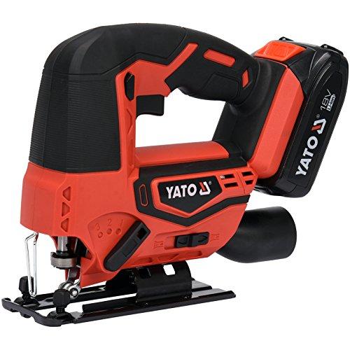 YATO Profi AKKU Stichsäge 18V | 2,0 Ah Li-Ion Akku | Schnellladegerät | werkzeugloser Sägeblattwechsel | Sägeblatt | max. 50mm in Holz 2500 U/min | Staubsaugeradapter