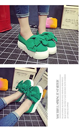 Minetom Femme Casual Bowknot Couleur Unie Slip On Platform Chaussons Wedge Loafer Mocassins Creepers Escarpins Pumps fGY2W