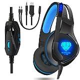 Gaming Headset, ohraufliegende Kopfhörer für PS4PC Xbox One Laptop Mac Geräuschunterdrückung LED Licht Gamer über Ohr Headset mit Mikrofon Blau Blau