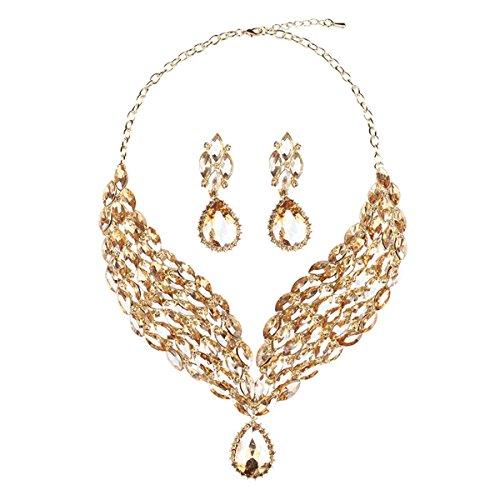 Anhänger Kristall Charms Statement Choker Halskette und Ohrringe Sets für Frauen Fashion Bohemian Kostüm Schmuck - gelb (Vintage Holiday Kostüme Schmuck)