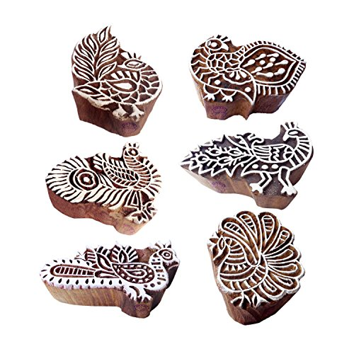 Traditional Pattern Peahen and Peacock Wooden Blocks for Printing (Set of 6)