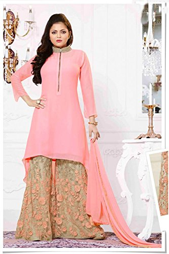 BHUMIK ENTERPRISE Pink Georgette Plazo Suit COLOR LATEST INDIAN DESIGNER ANARKALI SALWAR...