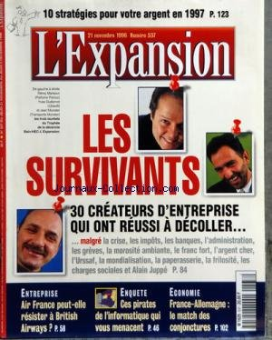 EXPANSION [No 537] du 21/11/1996 - LES SURVIVANTS ...