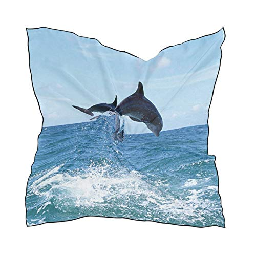 Women's Fashion Love Dolphins Pattern Small Square Polyester Satin Scarf Mixed Neck Wrap - Baby Hahn Kostüm
