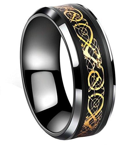 Tanyoyo nero celtica drago anello in acciaio inox color oro, con fascia gioielli taglia 5–14, acciaio inossidabile, 19,5, cod. h20160430-01