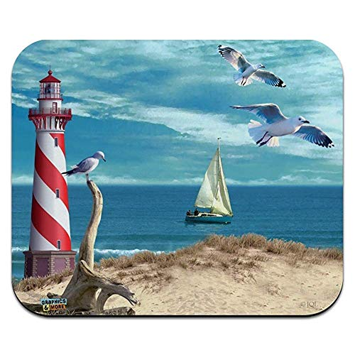 Leuchtturm-Küsten-Ozean-Strand-Seemöwen-Segelboot-flache dünne Mausunterlage Mousepad -
