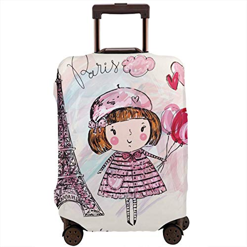 Travel Suitcase Protector,Little Girl Holding Balloons Hearts A Cloud and Eiffel Tower Illustration,Suitcase Cover Washable Luggage Cover M