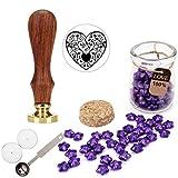 Mogoko Sternförmig Siegellack Perlen Europäische Retro Siegelwachs Perlen Herz Stempel Set mit 1 Stück Wachs Schmelzen Löffel und 2 Stück Kerzen für Umschlag Briefkopf Geschenk