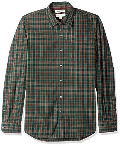 Marca Amazon - Goodthreads - Camisa de manga larga de popelín a cuadros de corte entallado para hombre, Verde (green/burgundy plaid), US M (EU M)