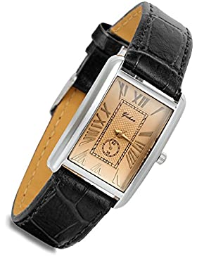 lancardo Retro Vintage Silber Ton Fall Krokodil Muster Schwarz Leder Damen-Armbanduhr Couple quadratisch (Frauen)