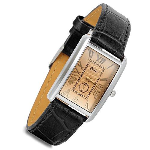 lancardo Retro Vintage Silber Ton Fall Krokodil Muster Schwarz Leder Damen-Armbanduhr Couple quadratisch (Frauen, 2)