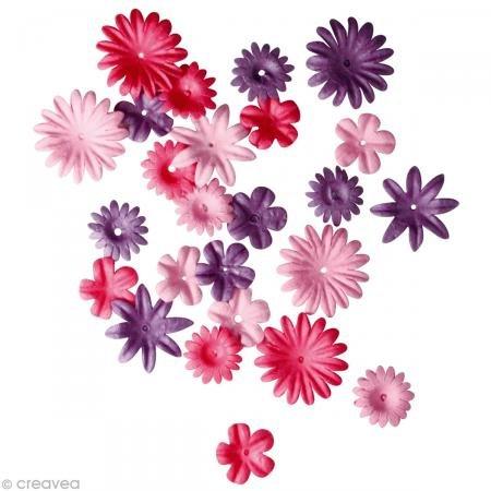 Rayher Hobby 7895533 Papier-Blütenmischung, versch. Größen, 1,5 - 2,5 cm, 4 Sorten, SB-Tube 36 Stück, Pinktöne, Streublüten, Blütenköpfe, Streudeko Blumen