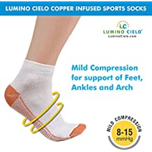 Lumino Cielo Sports Socks - Copper Infused, reduces odor, Keeps Feet Dry, Arch Support, Copper Infused Anti-mirobials control odor-causing bacteria