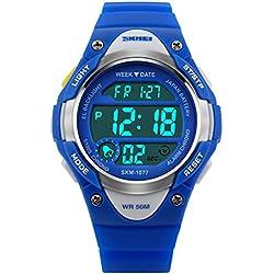 ETOWS® Boys Girls Sport Digital Watch Waterproof Students Children''s Wrist Watch (Blue)