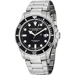 Stuhrling Original Aquadiver Regatta Espora Men's Quartz Watch with Analogue Display and Silver Stainless Steel Bracelet