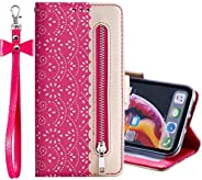 EnjoyCase Wallet Zipper Case for Samsung Galaxy A51,Lace Splice PU Leather Flip Wallet Folio Cover Stand Shock