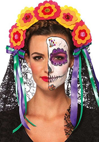Leg Avenue A2726 - Day of the Dead Haarreif mit Blumen, Schleife und durchsichtigen Spitzeschleier, Einheitsgröße, multicolor