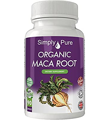 Organic Maca Root 90 x Capsules - 100% Natural - Soil Association Certified - High Strength (600mg) - Gluten Free - Vegan - Simply Pure - Exclusive to Amazon - Moneyback Guarantee by Simply Pure Ltd
