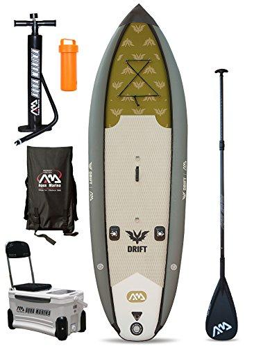 Drift Angelnspezialist SUP aufblasbares Stand Up Paddling-Board (3m) grau Board + Carbon Paddle