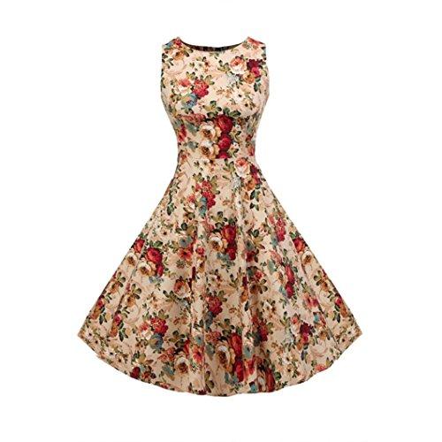 FEITONG Mode Féminine Vintage Imprimé Sans Manches Big Bottom Robe Trapèze Jaune